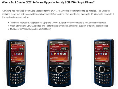 Samsung Saga GPS Unlock for Verizon Wireless
