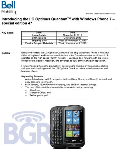 Bell LG Optimus Quantum
