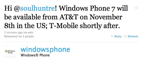 HTC HD7 release date
