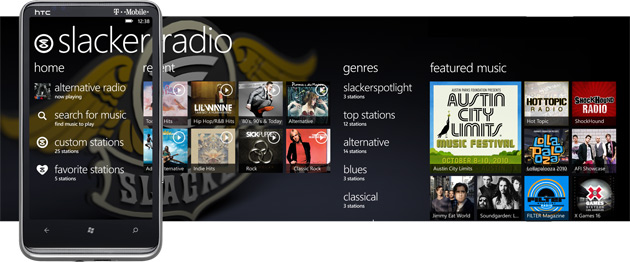 Slacker Radio on HTC HD 7