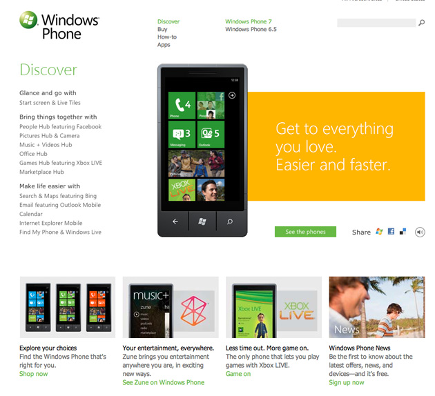 Windows Phone 7 site
