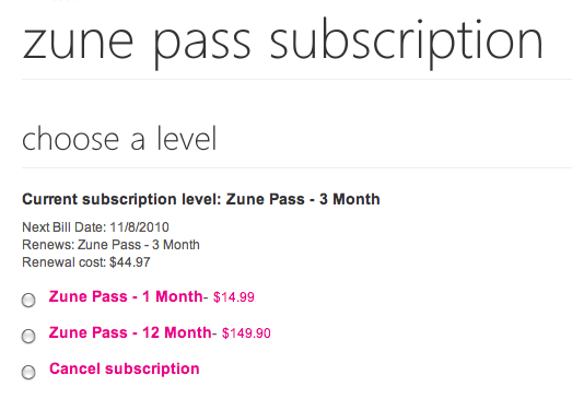 Zune pass pricing