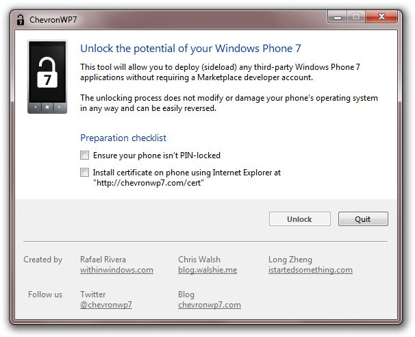 ChevronWP7 Windows Phone 7 jailbreak
