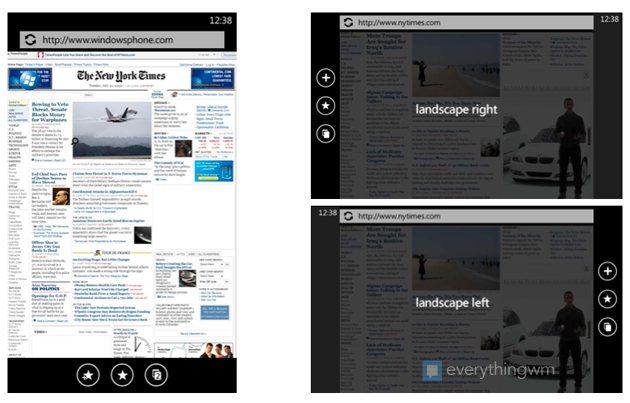 Landscape mode Windows Phone 7 browser