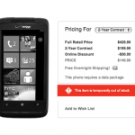 Verizon HTC Trophy sold out