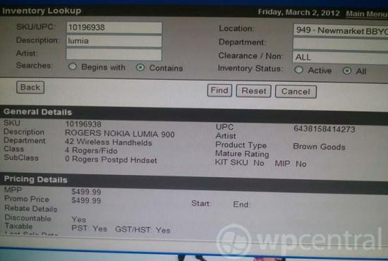 Rogers Lumia 900 price